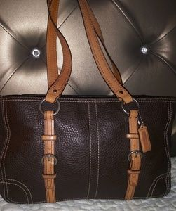 Coach Chelsea Brown Pebbled Leather Purse Handbag